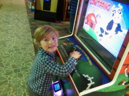 Here's Cow Tipping, a arcade game for younger kids at Safari Land