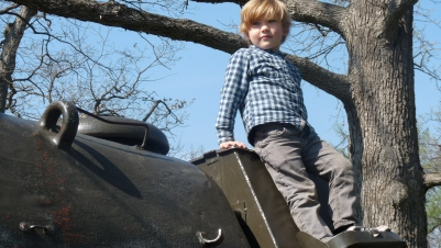 Cantigny in Winfield has a number of real tanks which the kids can climb all over