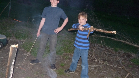 Keller and River making marsh mellows.