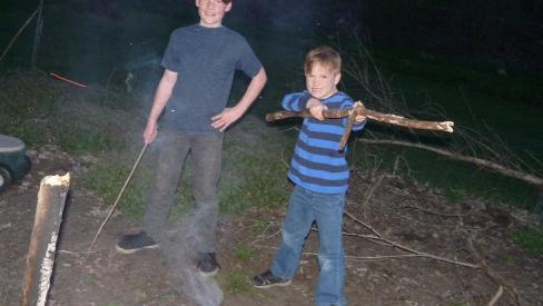 Keller and River making marsh mellows.