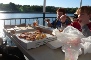 We loved the pizza from the Dockside Lounge which was ordered just outside the entrance of the Breezy Belle, Yum!