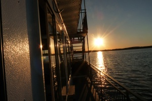 This sunset view off the bow of the Breezy Belle (the front)