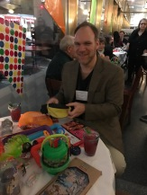Every year, ASTRA - American Specialty Toy Retailing Association - hosts a fat party, the table was loaded with fun stuff including a Slinky with LED lights