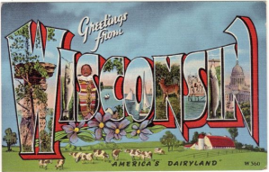 Welcome to Wisconsin vintage postcard