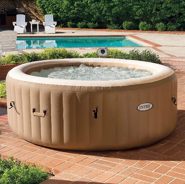 This portable hot tub has bubble jets, ships via Amazon Prime so it ships in 2 days and has an awesome filter.