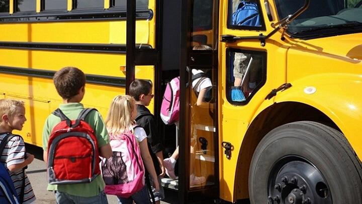 Kids with School bus