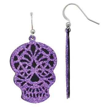 Purple and Black Day of the Dead Sugar Skull Earrings from Kohls.com