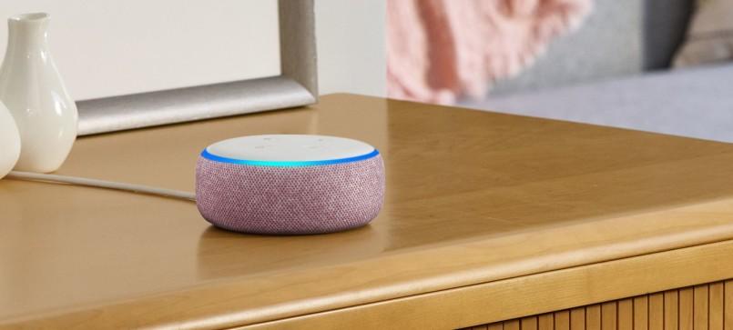 Amazon Echo Dot with Alexa in plum