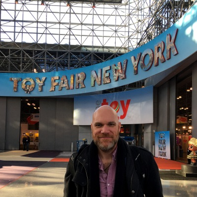 NY Toy Fair entrance with Matt Sweeny