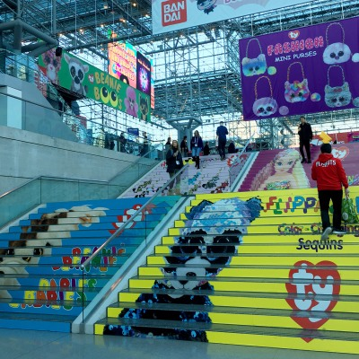 TY Sponsored stairs inside the Crystal Palace, Javits Center, New York Toy Fair
