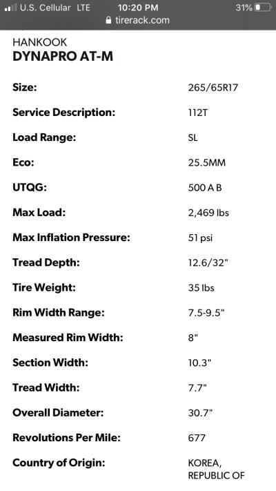 Hankook Dynapro ATM tire specs