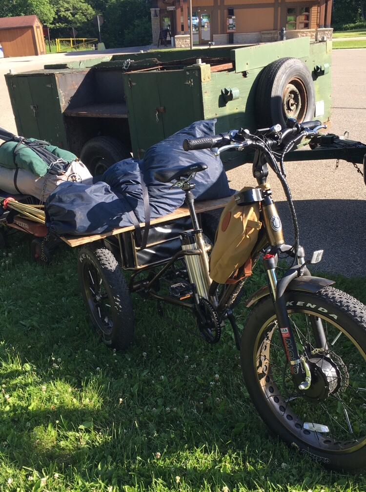My electric fat tire trike with custom flyer wagon bike trailer loaded with camping supplies