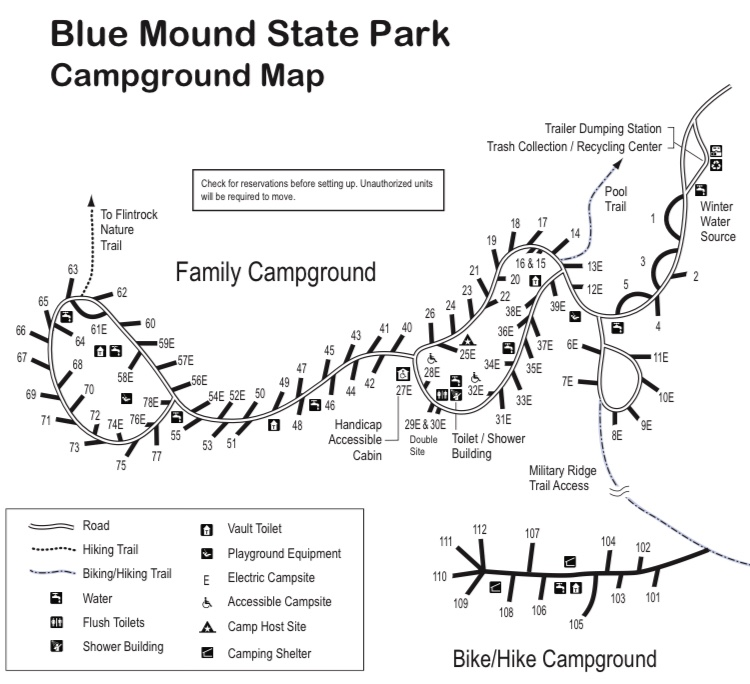 The bike and backpacking campground at Blue Mounds State Park is remote and easily accessible from the campground loop