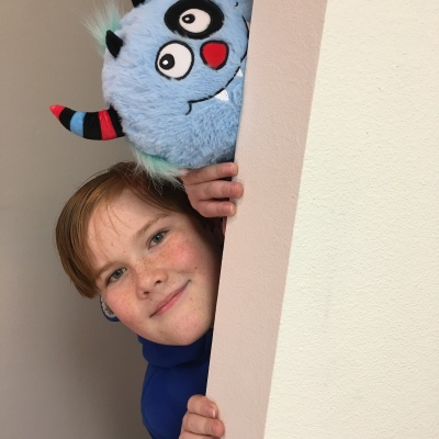 Blue Snuggle Monster and bedtime book companion from Continuum Games