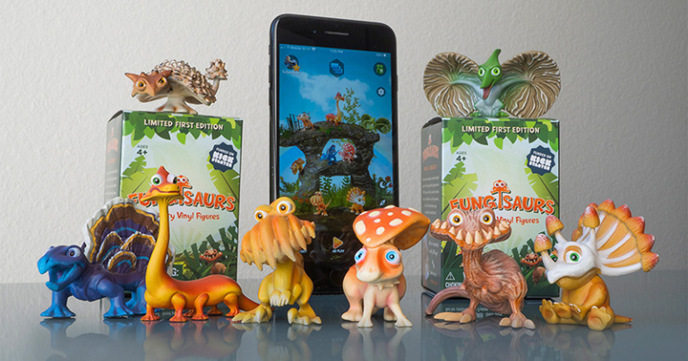 Fungisaurs Dino-mushroom hybrid toys & AR app